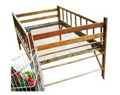 Antique 1890s Victorian Country Farmhouse Primitive Industrial Folding Cottage Wood Wire Childrens Youth Bed Crib - Flower Harvest Display