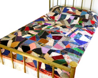 Antique 19th Century Silk, Velvet, Wool Victorian Crazy Quilt Vintage 1870s Bedspread French Country Farmhouse Homespun Pieced Spread