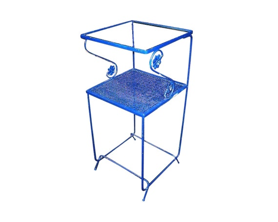 Vintage 1950s Perforated Iron Metal Mid Century Danish Modern Industrial 2 Tier Stand Cottage Glass Telephone Table Plant Stand Ornamental