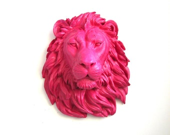 HOT PINK Large Faux Taxidermy  Lion Animal Head wall mount wall hanging home decor in hot pink:  Nursery decor office decor modern kids room