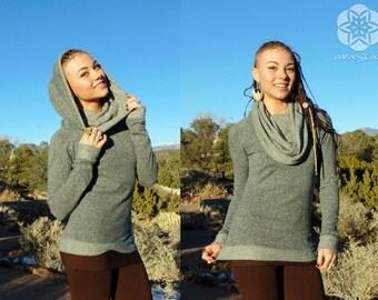 Corona: Hooded Cowl Neck Long Sleeve Shirt. Hemp Organic Cotton Jersey Cowl Top. Heather Grey, Brown, Blue, Black.