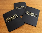 3 x Elegant Gold Foil Black Christmas Cards & Envelopes
