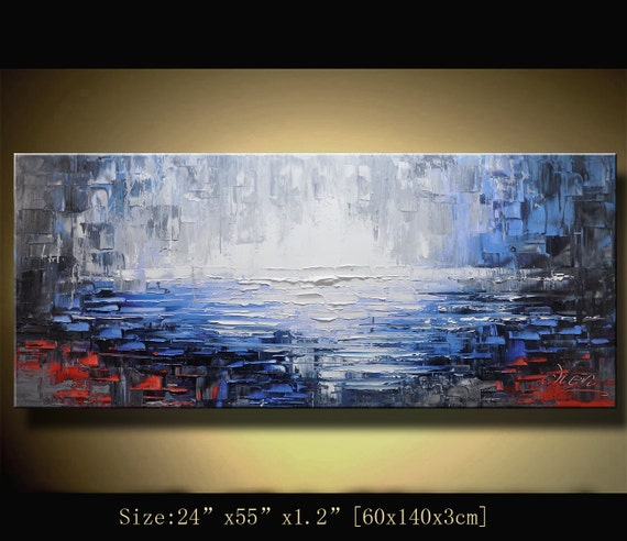 large original wall art texture  Abstract Painting,  Palette Knife, Home Decor, Impasto Landscape Painting Acrylic on Canvas  by Chen G048