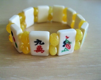 Mahjong bracelet  with mini bone tiles and yellow Topaz  spacer beads