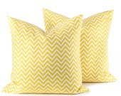 Yellow Pillow. Decorative Pillow Covers. 20x20 Pillow covers. Cushions. Skinny Chevron. Home Decor. Accent Pillow .Toss Pillow. Spring decor
