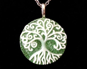 Tree of life resin necklace