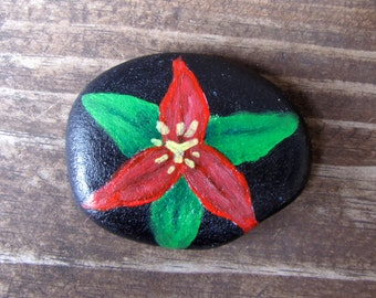 Trillium painted rock, trillium painting flower art painted rock rock painting flower painting paper weight red flower