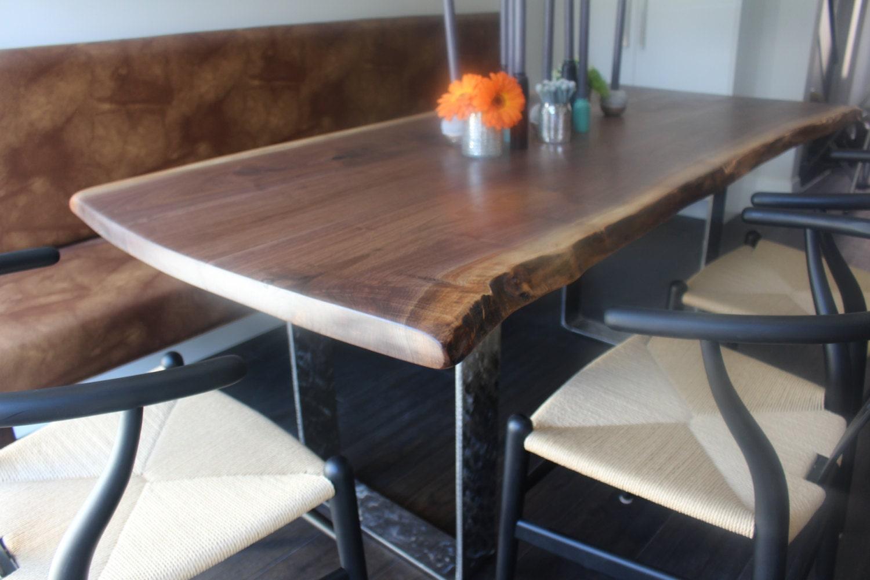 Live Edge Black Walnut Dining Table Custom Steel Legs Modern