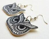 Owl Earrings, owl jewellery, owl dangle earrings
