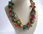 Colorful necklace, Wooden necklace, Wooden beads, Beaded necklace,  Tropical jewelry, Girls necklace, Mothers day necklace, Mothers day gift