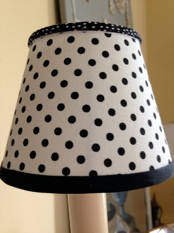 small candle clip lamp shade made from black and white polka dot. Black Bedroom Furniture Sets. Home Design Ideas