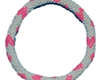 White with Pink Heart Crocheted Beaded Bracelet, Seed Beads,Nepal,PB300