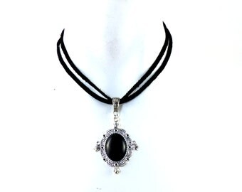 Black Agate Pendant Necklace in Ornate Silver Frame on a Double Strand of Black Suede - Victorian Inspired Jewelry for Women - Gothic Gift