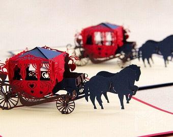 Elegant Cinderella Carriage princess coach - pop up card- 3D handmade cards