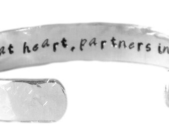 "Sister gift - ""sisters at heart, partners in crime"" 3/8"" hidden message cuff bracelet SET"