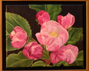 ORIGINAL Oil Painting Pink Cherry Blossom Art by Trupti