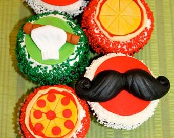 PIZZA ITALIAN CHEF -  Fondant Cupcake, and Cookie Tops - 1 Dozen