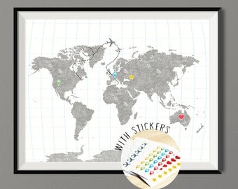 Adventure journal World Map Grey Blue - Art Print Block Wood Texture - Poster with Pins Sticker Set - Wall Decor  - Art Print Poster