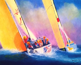 """1995 America's Cup """"Mighty Mary"""" All Women's Team - Oil on Vellum Acid Free Paper 140lb  - 6 x 8 inches"""
