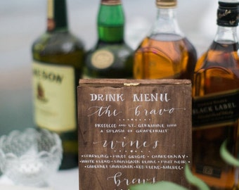 Wooden Wedding Drink Menus, Hand Lettered in Calligraphy