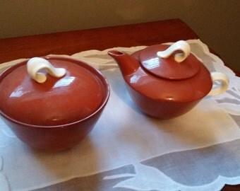 Vintage Suntone by Homer Laughlin Covered Sugar and Creamer Set