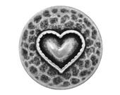 30 Heartfelt 7/8 inch ( 23 mm ) Metal Buttons Antique Silver Color