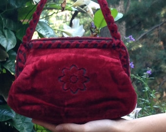 Vintage 1940s Purse Oxblood Wine Velour Velvet Embossed Bag Handbag Steampunk Goth