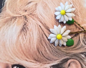 Decorative Hair Pins 1940 Vintage Bridal Yellow Daisy Glass Flower Hairpins Bobby Pins