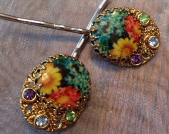 Decorative Hair Pins West Germany Flower Floral Hair Jewelry Bobby Pins