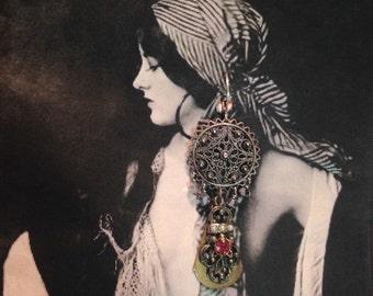 Bohemian Tribal 20's Sterling Filigree Earrings