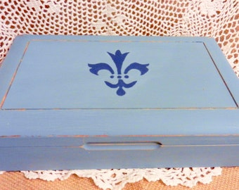 Hand Distressed -- Jewelry Box holder with compartments-- Fleur de Lis -- blue -Wooden storage