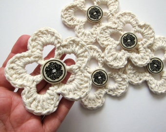 "2pcs 3.5"" Crochet LOOPS FLOWER Applique"