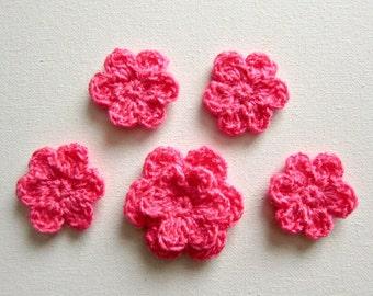 5pcs Crochet PINK Flower Applique