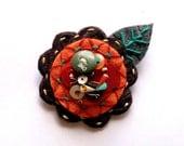 Felt Flower Pin Brooch for Women Jewelry Re-purposed Orange Brown Teal Roadrunner