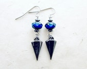 Dagger Earrings with Hematite Stones + Cobalt Blue Czech Glass Beads. Fire Polished Jewelry w Gunmetal Spikes. Bohemian Tribal Chic Style.