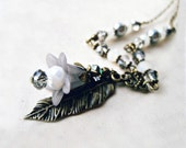 Silver Flower Necklace. Lucite Flower Necklace with Dove Grey Lily, Hammered Leaf, Gray Pearls, Silver Crystals and Antiqued Bronze Chain