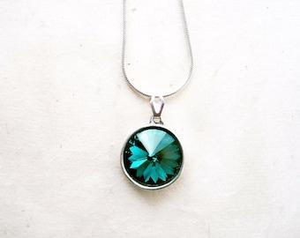 Emerald Crystal Necklace, Swarovski Drop Necklace, May Birthstone, Deep Green Bridesmaids, Emerald Jewelry, Rhinestone Pendant Necklace