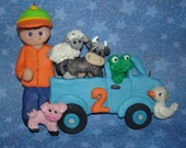 Little Blue Truck Cow Pig Frog Toad Sheep Goose Duck Polymer Clay Milestone Christmas Ornament Birthday Boy Driver Farmer Reading Book