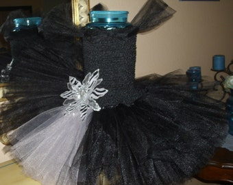 Black and Grey Silver Christmas Flower Girl Tutu Dress