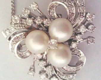 Ladies, Vintage, 14K, White, Gold, Diamond, Pearl, Brooch, Necklace, Pendant
