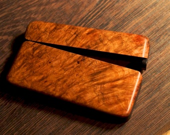Amboyna Burl Wood Wallet, with Blackwood trim!
