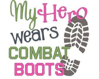 Hero Wears Combat Boots Embroidery Design - Instant Download