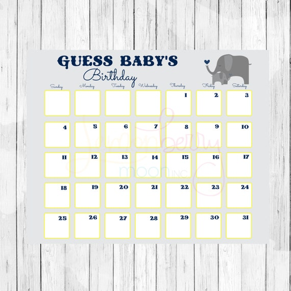 Guess Babys Birthday Printable Calendar | Calendar Template 2016