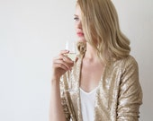 Sequin gold jacket with long sleeves, Long sleeves sparkling bridal jacket