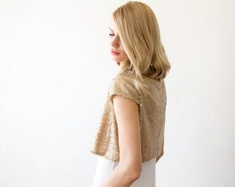 Sequin bridal gold open bolero, Short sleeves sequin shrug 2009