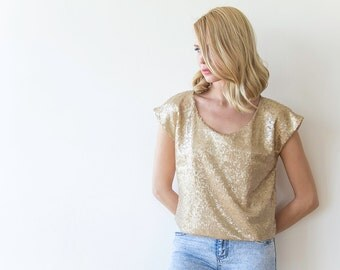 Sequin gold top with short sleeves, Sparkling gold blouse 2044