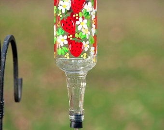 Hand Painted Hummingbird Feeder with Strawberries and flower feeder tube.