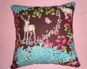 Japanese designer woodland animal print fabric cushion cover approx 45cm X 45cm