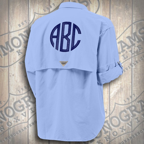 Monogrammed fishing shirt columbia pfg men 39 s blue bahama for Monogram fishing shirt