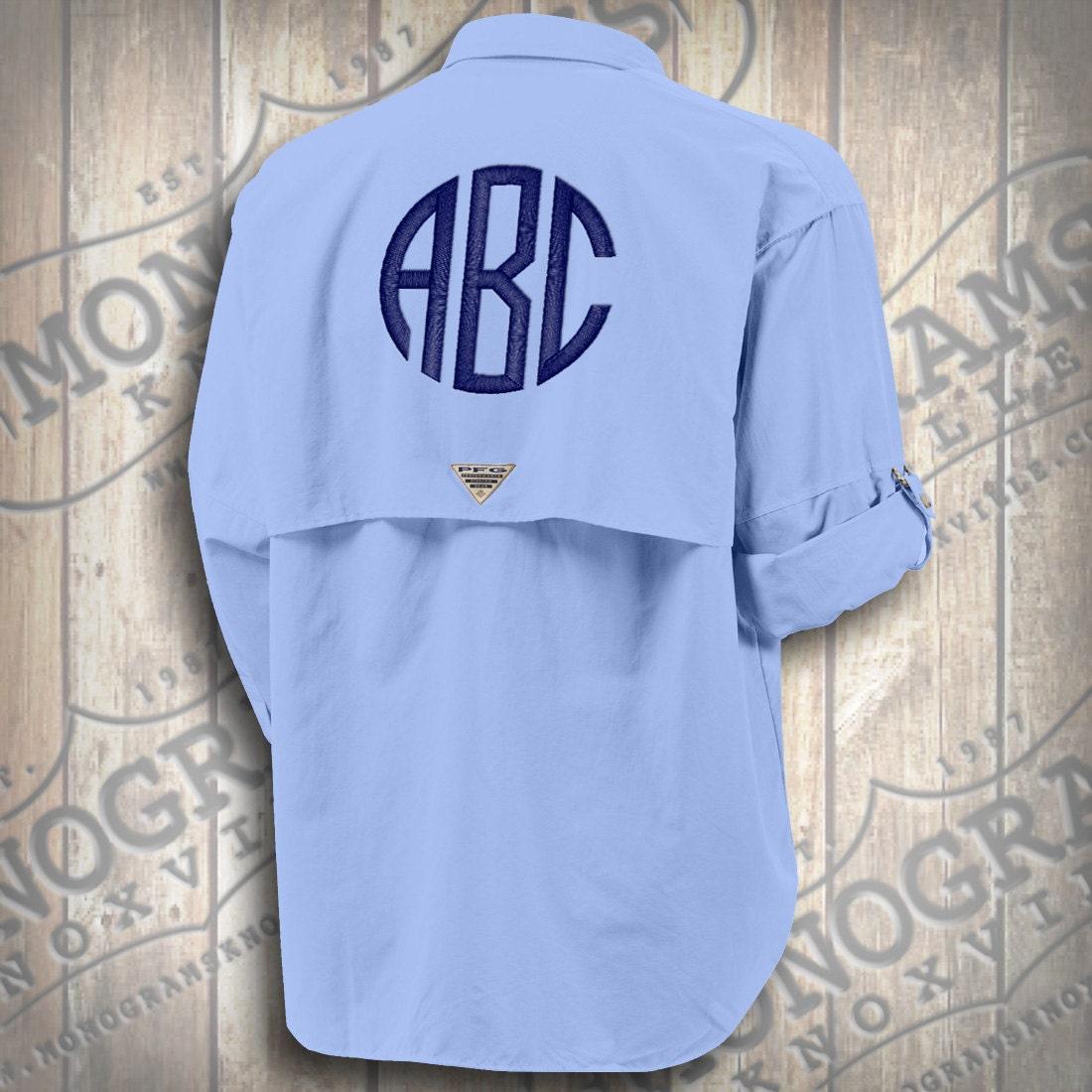 Monogrammed Fishing Shirt Columbia Pfg Men 39 S Blue Bahama